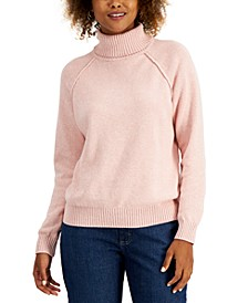Petite Cotton Marled Turtleneck Sweater, Created for Macy's