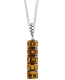 "EFFY® Citrine Vertical Bar 18"" Pendant Necklace (5-3/4 ct. t.w.) in Sterling Silver"