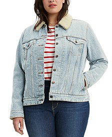 Trendy Plus Size Fleece-Lined Denim Trucker Jacket