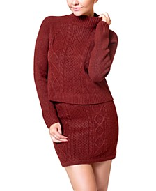 Mock-Neck Cable-Knit Sweater