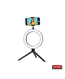 "ONAIR HaloLight: 8"" Portable LED Ring Light w/ Desktop Tripod Stand & Phone Holder"