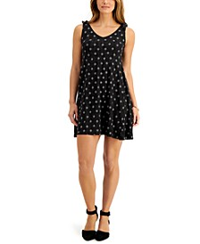 Petite Printed Tie-Shoulder Dress, Created for Macy's