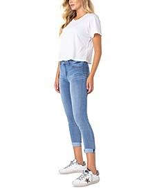 Juniors' Roll Cuff Skinny Jeans