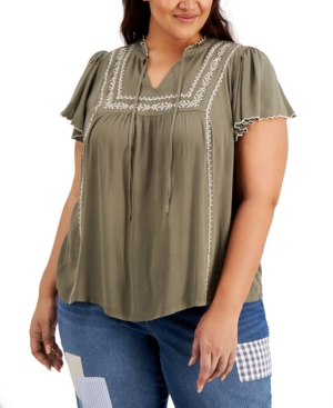 Style & Co Cottons PLUS SIZE COTTON FLUTTER SLEEVE TOP, CREATED FOR MACY'S