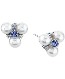 Cultured Freshwater Pearl (6mm), Tanzanite (1/2 ct. t.w.) & Diamond (1/10 ct. t.w.) Stud Earrings in 14k White Gold