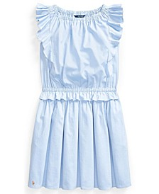 Polo Big Girl Ruffled Cotton Oxford Dress