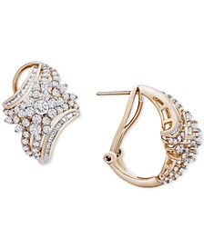 Diamond Cluster Curved Hoop Earrings (2 ct. t.w.) in 14k Gold, Created for Macy's