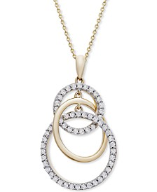 """Diamond Interlocking Circle 20"""" Pendant Necklace (1/2 ct. t.w.) in 14k Gold, Created for Macy's"""
