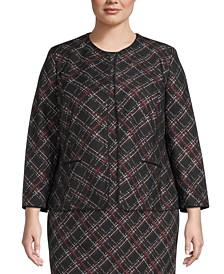 Plus Size Plaid Collarless Jacket