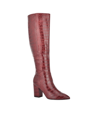 Nine West Women's Medium Adaly Tall Boots Women's Shoes In Deep Red Croco