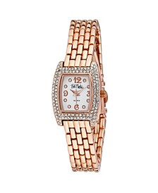 Women's Pink Alloy Bracelet Panther Link Square Stone Bezel Watch, 23mm