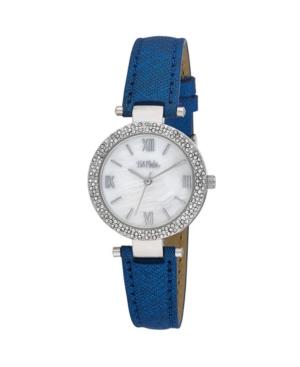 Women's Blue Polyurethane Strap Glitz Mop Dial Watch