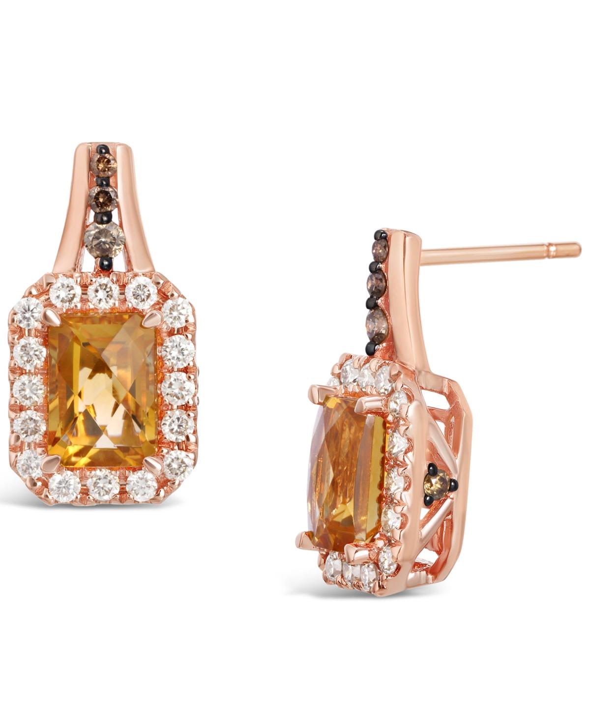Cinnamon Citrine (2 ct. t.w.) & Diamond (5/8 ct. t.w.) Stud Earrings in 14k Rose Gold