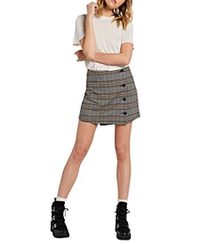 Juniors' Frochickie Wrap-Front Mini Skirt