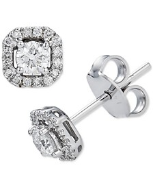 Diamond Square Halo Stud Earrings (3/8 ct. t.w.) in 14k White Gold