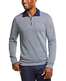 Men's Ribbed Quarter-Zip Cotton Sweatshirt