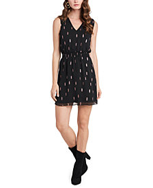 1.STATE Sleeveless Metallic-Print Dress