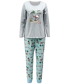 Matching Plus Size Tropical Santa Family Pajama Set, Created for Macy's