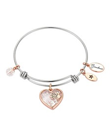 """Grandma"" Heart-Shaped Shaker with Flower Silver Plated Charm Adjustable Bangle Bracelet in Rose Gold Two-Tone Stainless Steel"