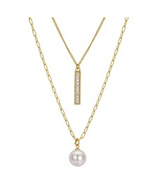"""Gold Flash Plated Cubic Zirconia Bar and Freshwater Pearl Layer Necklace, 16"""" + 2"""" Extender"""