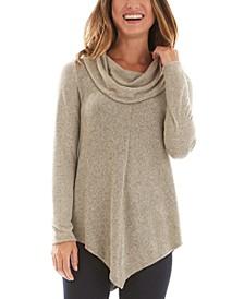 Juniors' Cowl-Neck Pointed-Hem Sweater