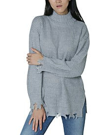 Juniors' Destructed Mock-Neck Tunic Sweater