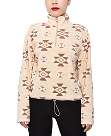 Juniors' Printed Half-Zip Fleece Top