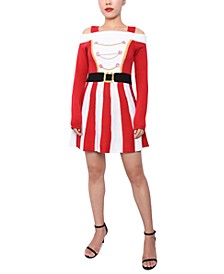 Juniors' Santa Cold-Shoulder Sweater Dress