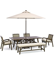 """Kathan Outdoor Aluminum 6-Pc Dining Set (84"""" x 42 Rectangle Dining Table, 4  Dining Chairs, 1 Bench) with Sunbrella® Cushions, Created for Macy's"""