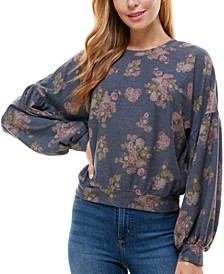 Juniors' Printed Puff-Sleeved Top