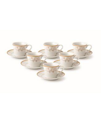 Lorren Home Trends Trends Floral Design 12 Piece 2oz Espresso Cup and Saucer Set, Service for 6