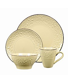 16 Piece Stoneware Scroll Dinnerware Set, Service for 4