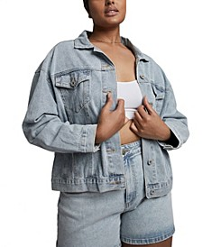 Trendy Plus Size 90s Baggy Denim Jacket