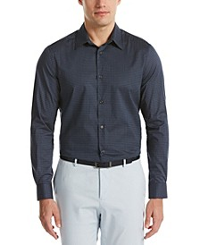 Men's Color Dash Print Long Sleeve Button-Down Stretch Shirt with Collar Stays