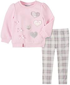 2 Piece Little Girls Fleece Hearts Top with Plaid Legging Set