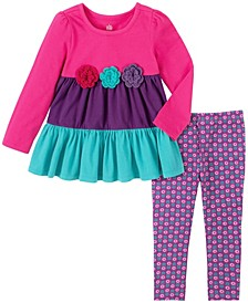 2 Piece Little Girls Blocked Tunic with Print Legging Set