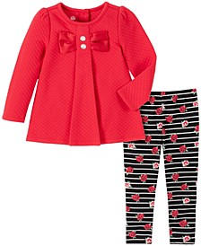 2 Piece Little Girls Quilted Bow Tunic with Stripe Flower Print Legging Set