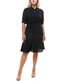 Trendy Plus Size Tie-Neck Dress