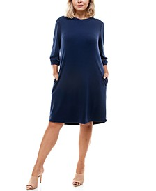 Trendy Plus Size Boat-Neck Shift Dress