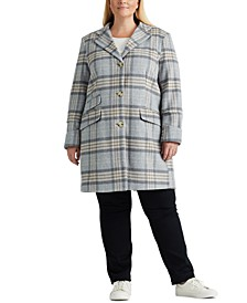 Plus-Size Plaid Walker Coat, Created For Macy's