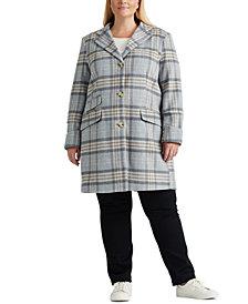 Lauren Ralph Lauren Plus-Size Plaid Walker Coat, Created For Macy's