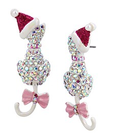 Festive Pave Cat Earrings