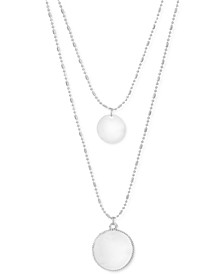 "INC Double Disk Layered Ball-Chain Long Pendant Necklace, 18-1/2"" + 3"" extender, Created for Macy's"