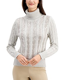 Sequin-Stripe Turtleneck, Created for Macy's
