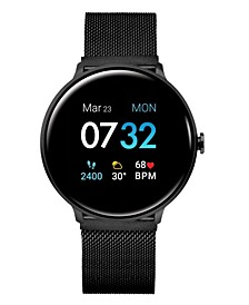 Men's Sport's Black Stainless Steel Mesh Strap Smart Watch 43.2mm