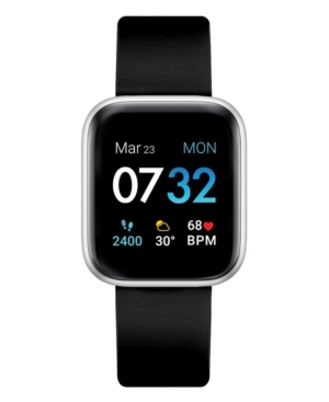 Air 3 Unisex Touchscreen Smartwatch Fitness Tracker: Silver Case with Black Strap 44mm