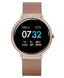 Women's Sport's Crystal Encrusted Rose Gold Tone Stainless Steel Mesh Strap Smart Watch 43.2mm