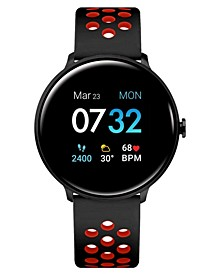 Men's Sport's Black and Red Perforated Silicone Strap Smart Watch 43.2mm