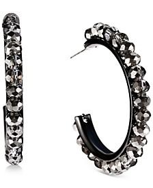 "Hematite-Tone Medium Beaded C-Hoop Earrings, 1.54"", Created for Macy's"