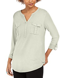 Plus Size Roll-Tab Buttoned-Neck Top, Created for Macy's